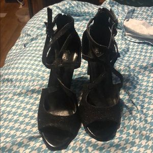 Black sliver sparkle open toe heels